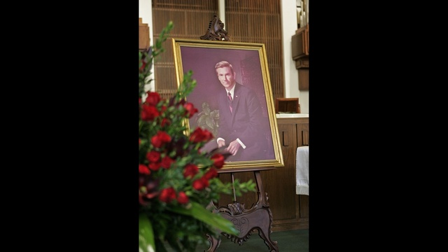 Portrait of former Gov. Reubin Askew is displayed during a memorial service