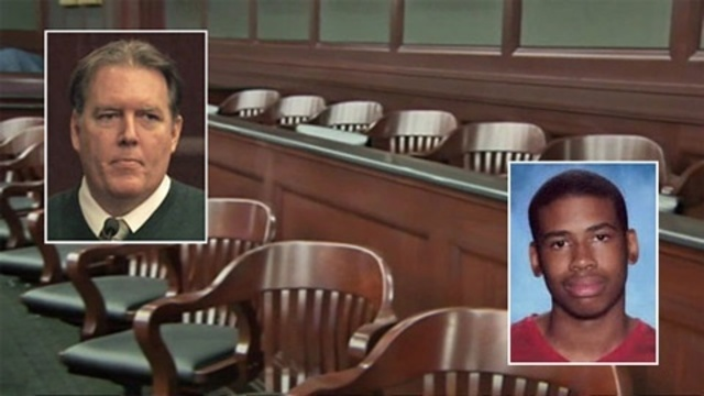 Michael Dunn, Jordan Davis inset in jury box pix