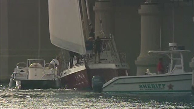 Sailboat hits bridge of lions