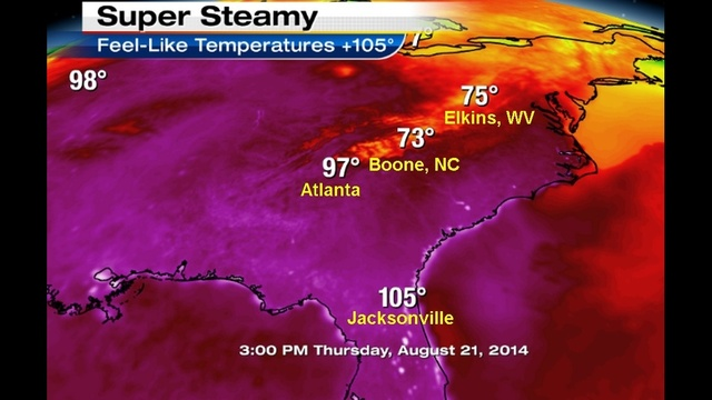 Feel-like temperatures 100° or higher