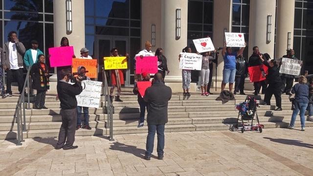 Dunn trial demonstrators - Saturday