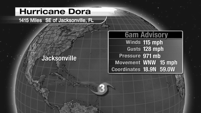 50 YEARS AGO TODAY: Hurricane Dora grows into major hurricane
