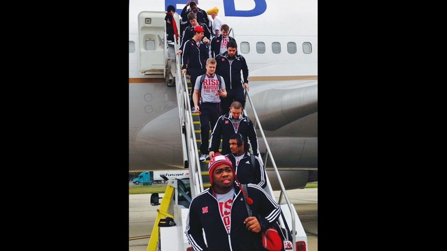Nebraska players arrive at JIA