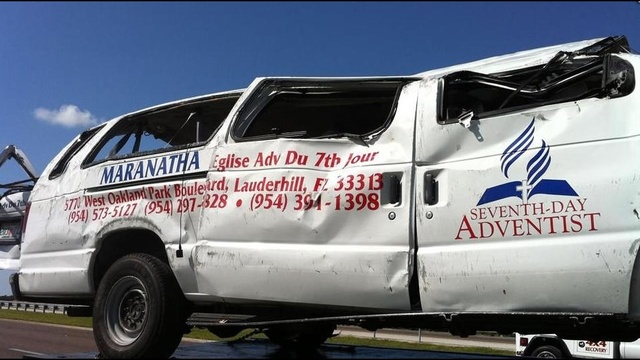 A church van traveling from Lauderhill to Tampa rolled over on I-75 near Fort Myers.