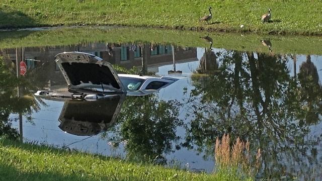 Car in pond photo