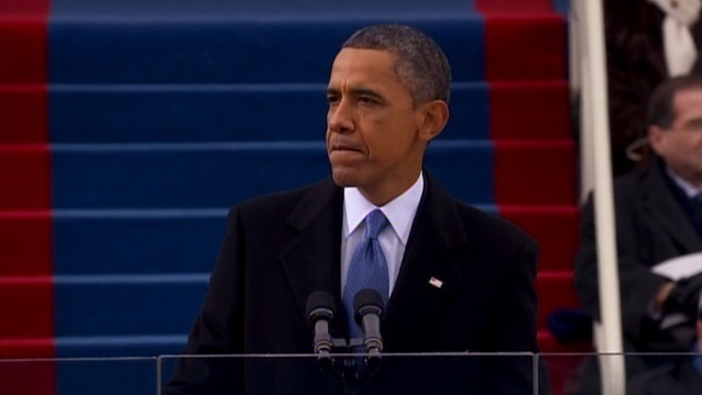 President Obama - pensive during his second inaugural address
