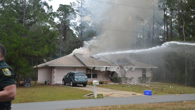 Palm Coast plane crash - house burning