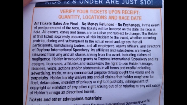 Daytona Speedway ticket waiver