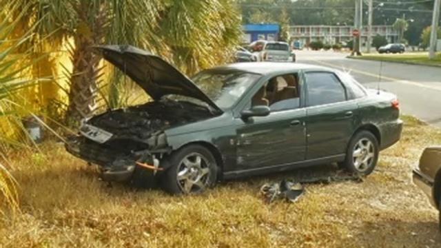 Stolen car crashed
