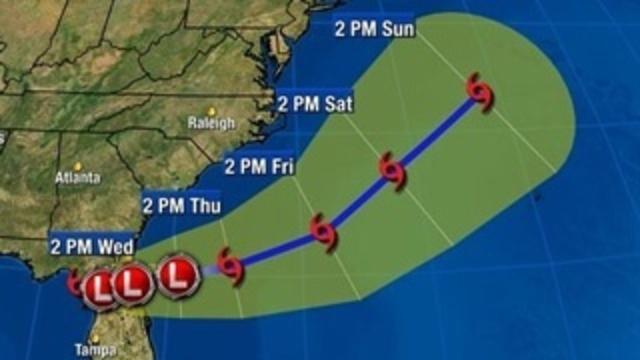 TS Debby 5pm Tuesday forecast