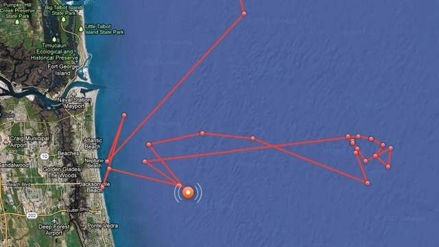 Tracking Mary Lee off coast of Jax Beach