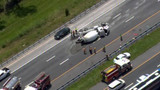 Cement truck flips on I-95 SB in St. Johns County
