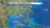 Tropical Depression 9's track shifts slightly south