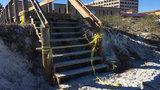 Hurricane-damaged beach walkways pose hidden dangers