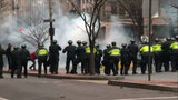 Inauguration protests turn violent, police officers injured