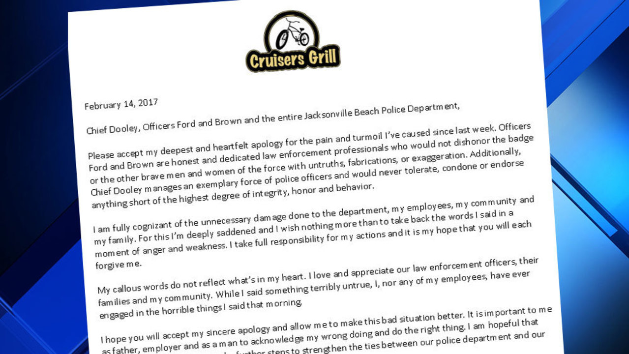 Restaurant Owner Delivers Letter Of Apology To Jax Beach