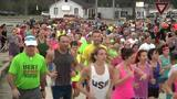 "Runners prepare for ""Green Monster"" before Gate River Run"
