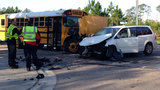 Bus crash ties up traffic on Rampart Road
