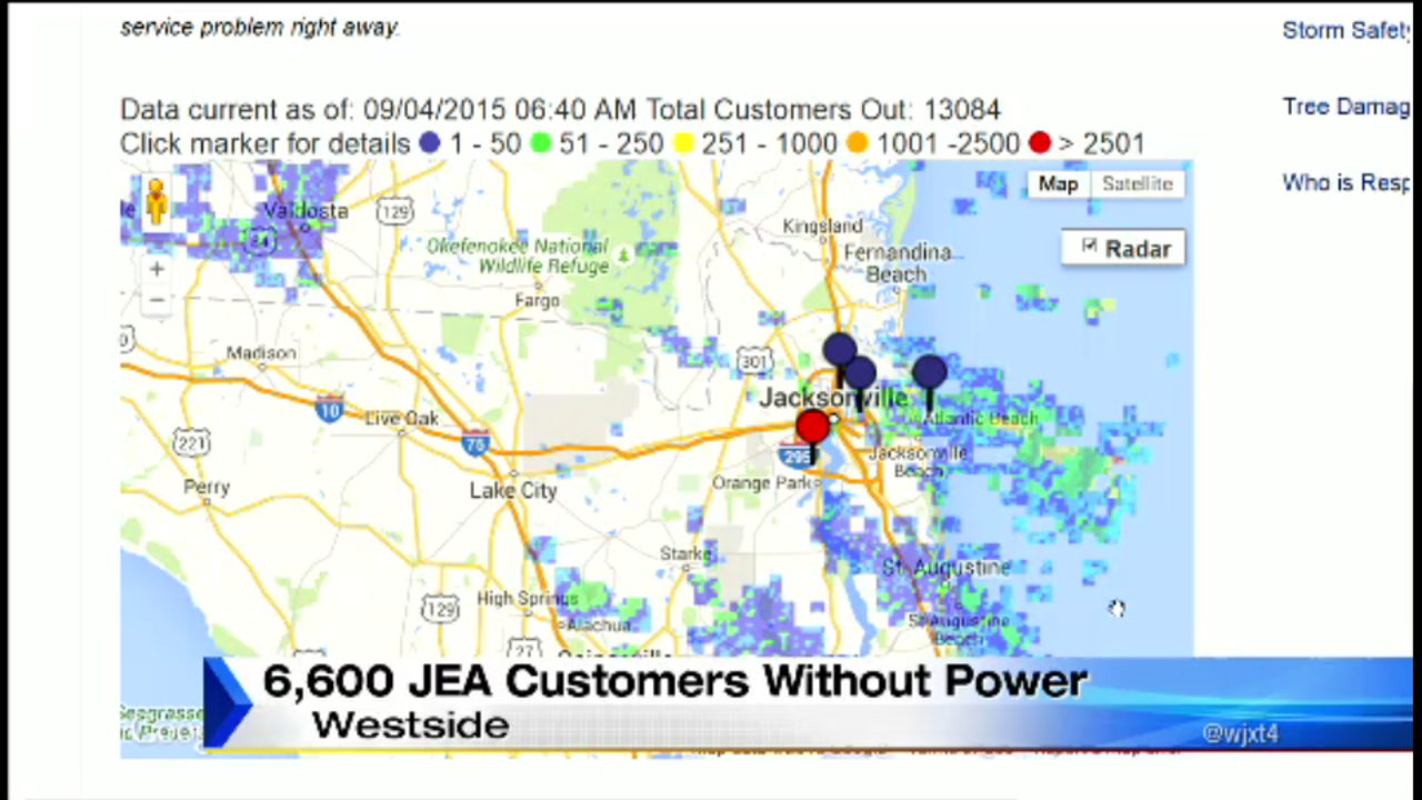 Power Outage Map Jea.Thousands Affected By Westside Power Outage