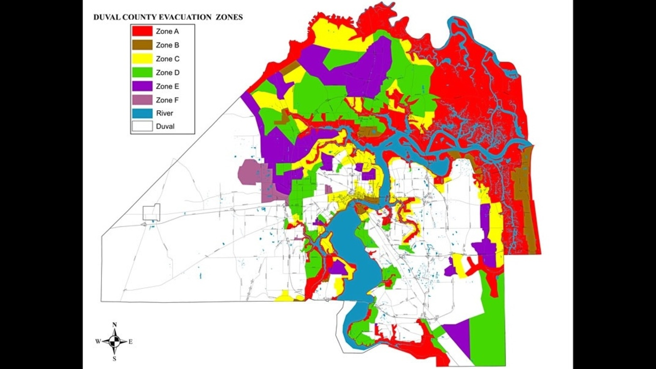 Duval County evacuation map