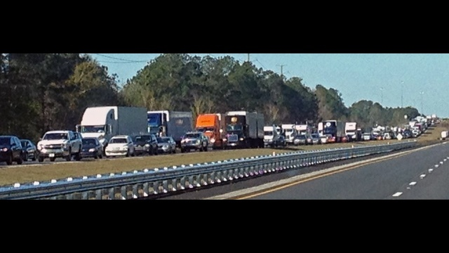 Traffic backed up on I-10 panorama