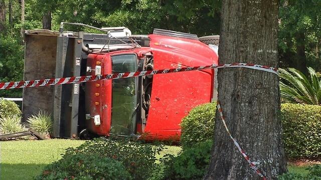 Dump truck overturned