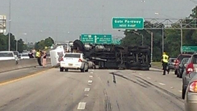 Flipped dump truck_27365330