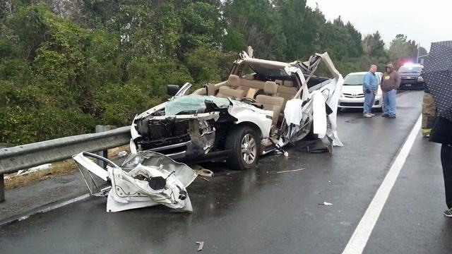 Log truck and pickup truck crash