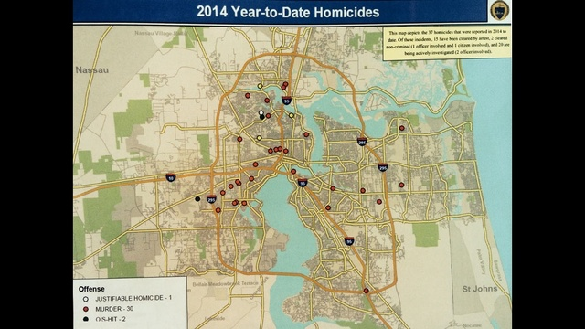 JSO 2014 YRD homicides map