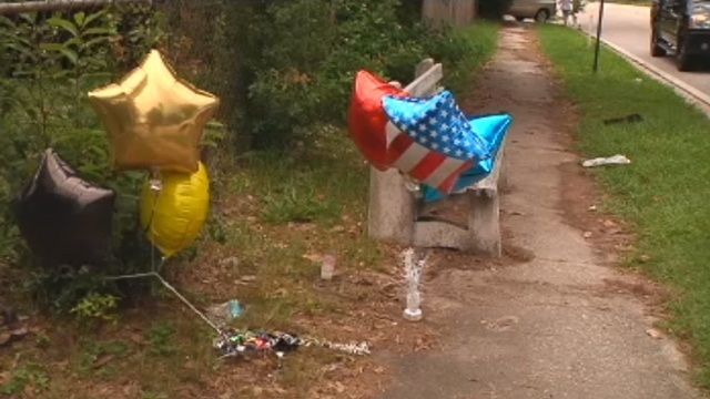 Bus stop makeshift memorial