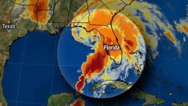 Tropical Storm Andrea satellite map - 1 p.m. Thursday