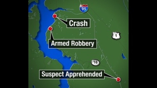 Map: SJC robbery, crash, apprehension