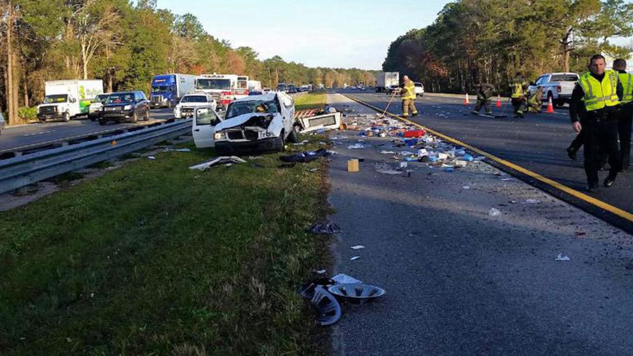 Overturned vehicle slo...I 95 Sc Traffic