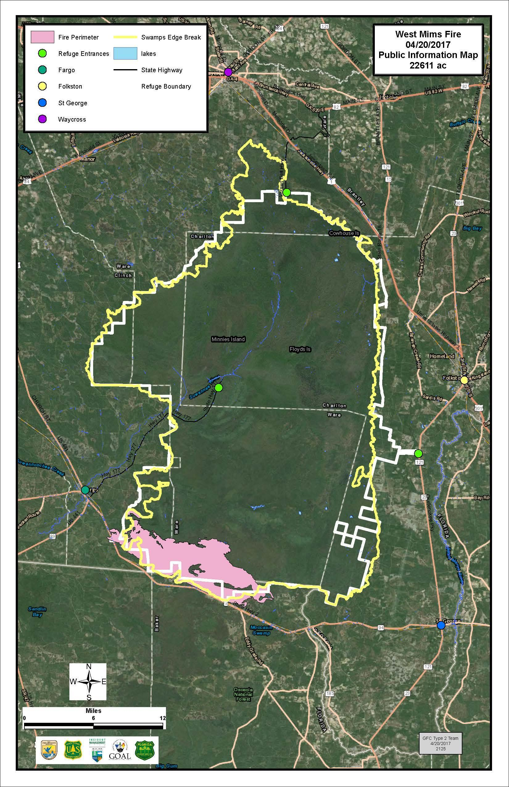 Okefenokee Fire Map.Okefenokee Fire Continues To Grow