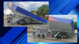 Gas station awning collapses as storms cause damage, flooding