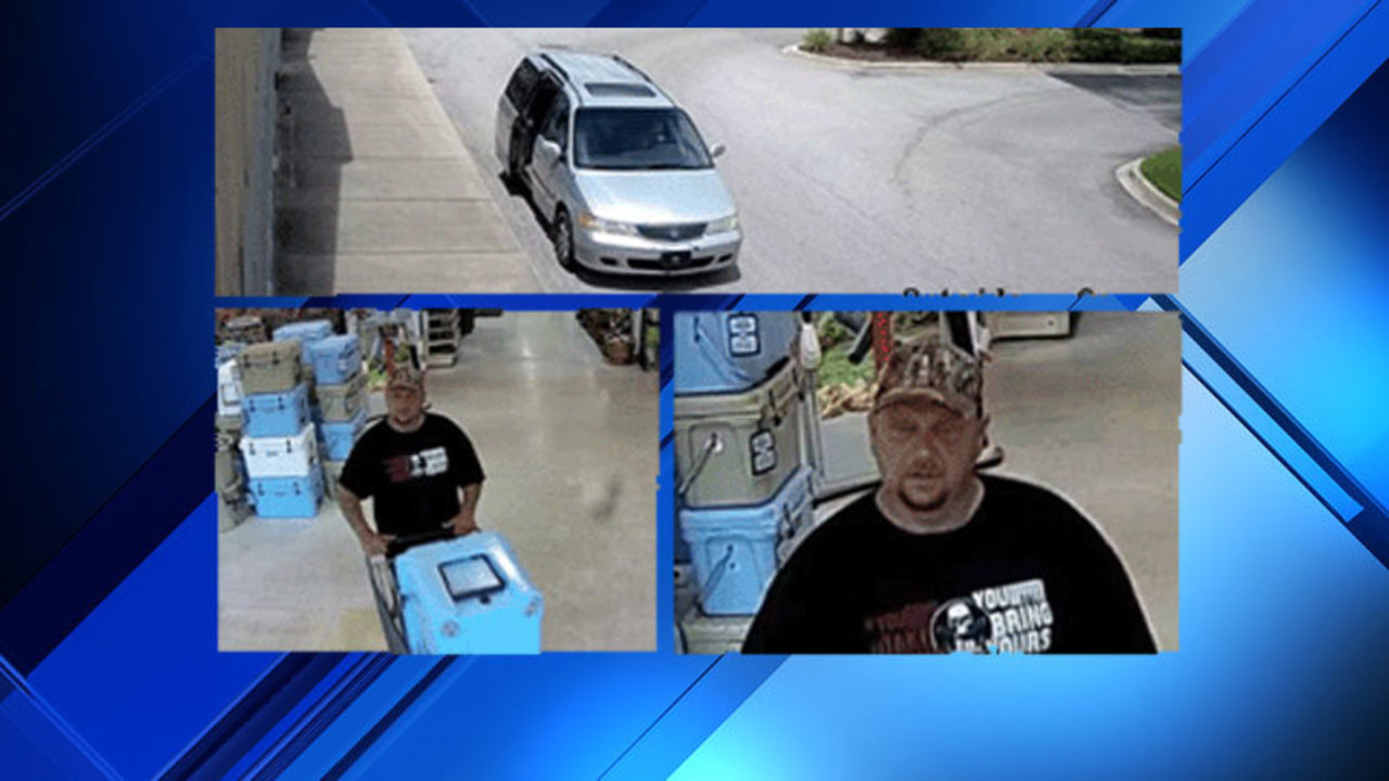 Police seek man accused of stealing Yeti coolers from hardware stores