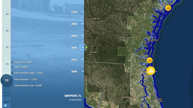 NOAA sea level rise interactive map