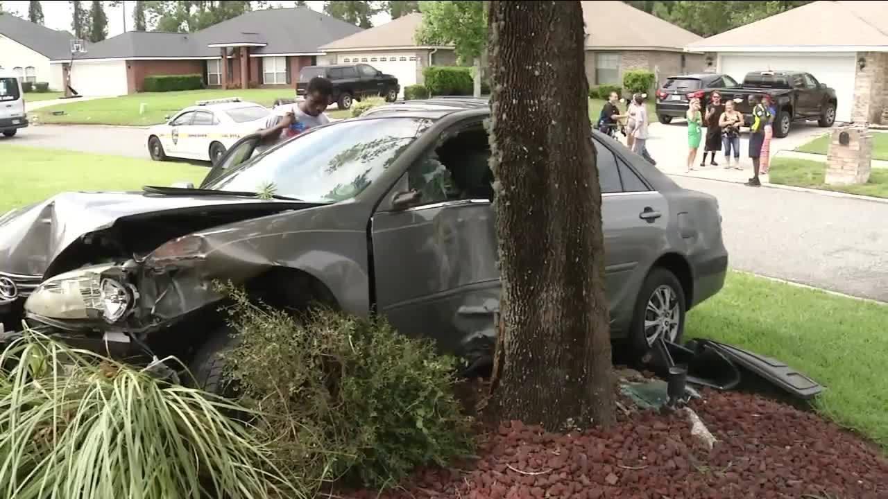 Teen Driving Stolen Car Damages Home Crashes Into Tree - Stolen car