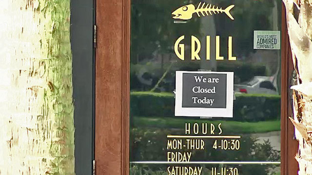 Bonefish Grill closed sign