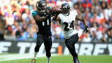 Lewis scores 3 TDs as Jaguars embarrass Ravens in London