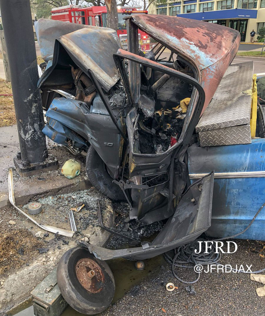 JFRD photo of downtown crash