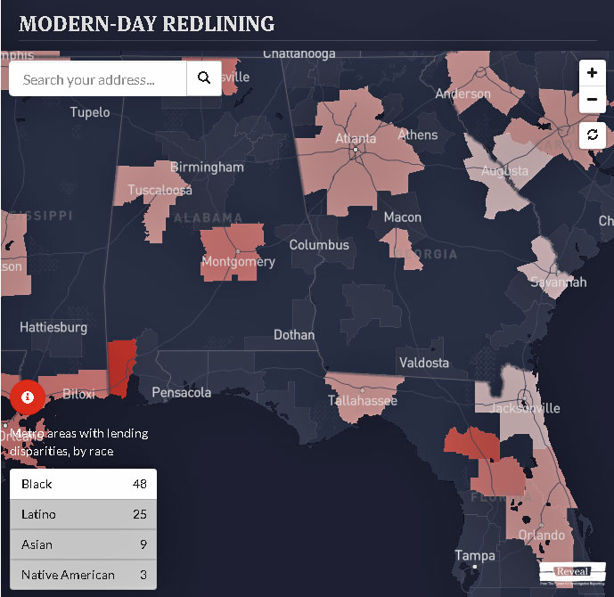 Reveal redlining map