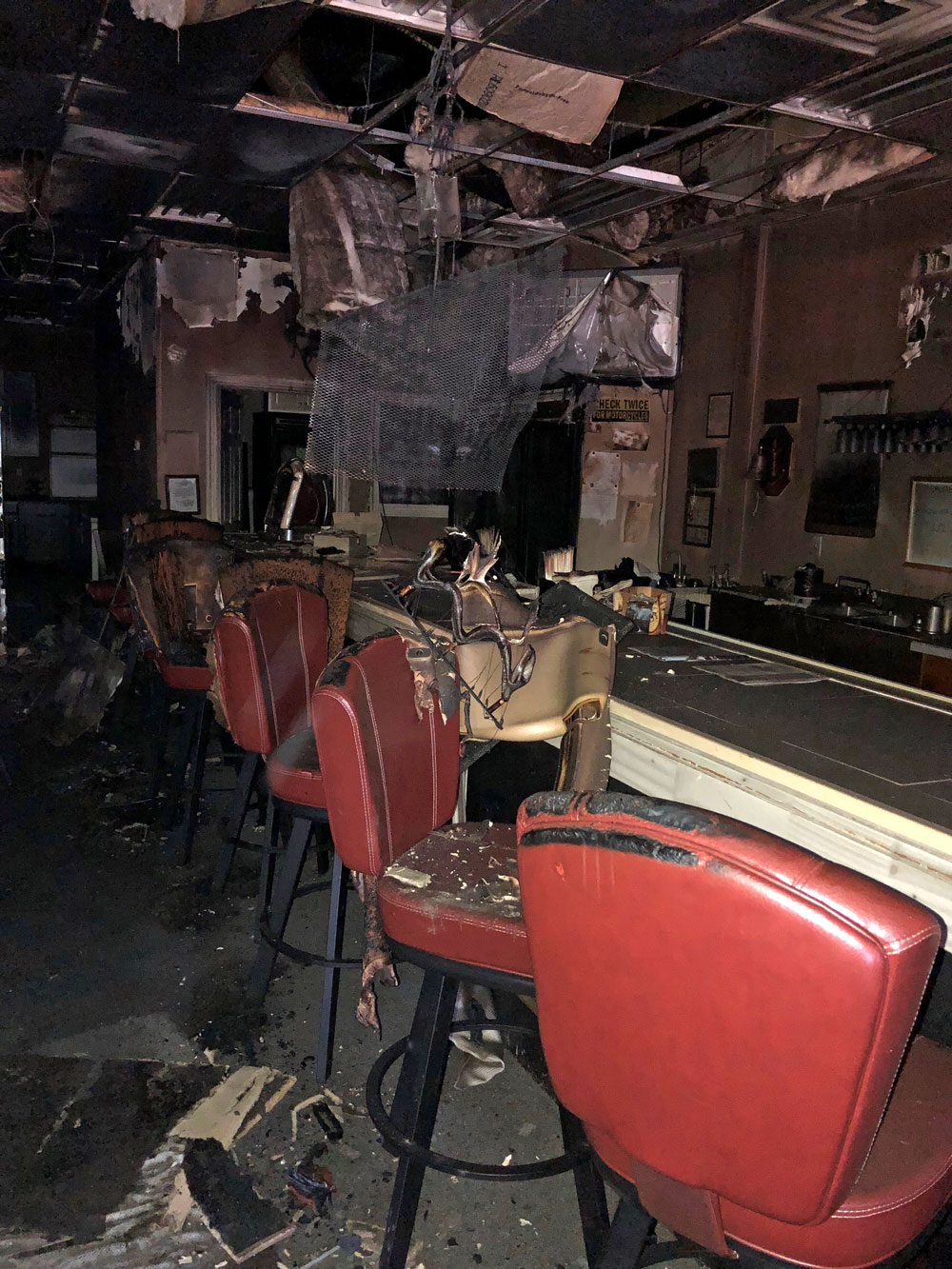 Inside American Legion post fire