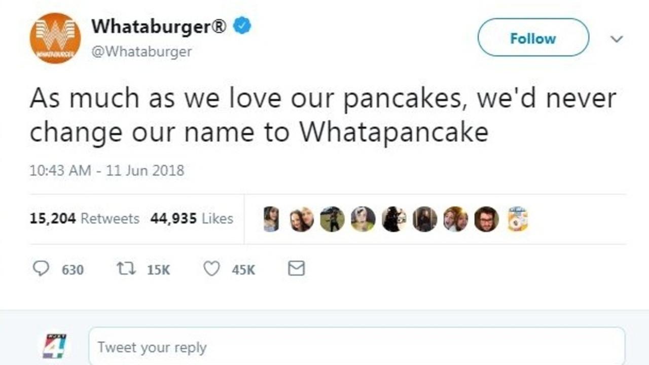 Whataburger: \'We\'d never change our name to Whatapancake\'
