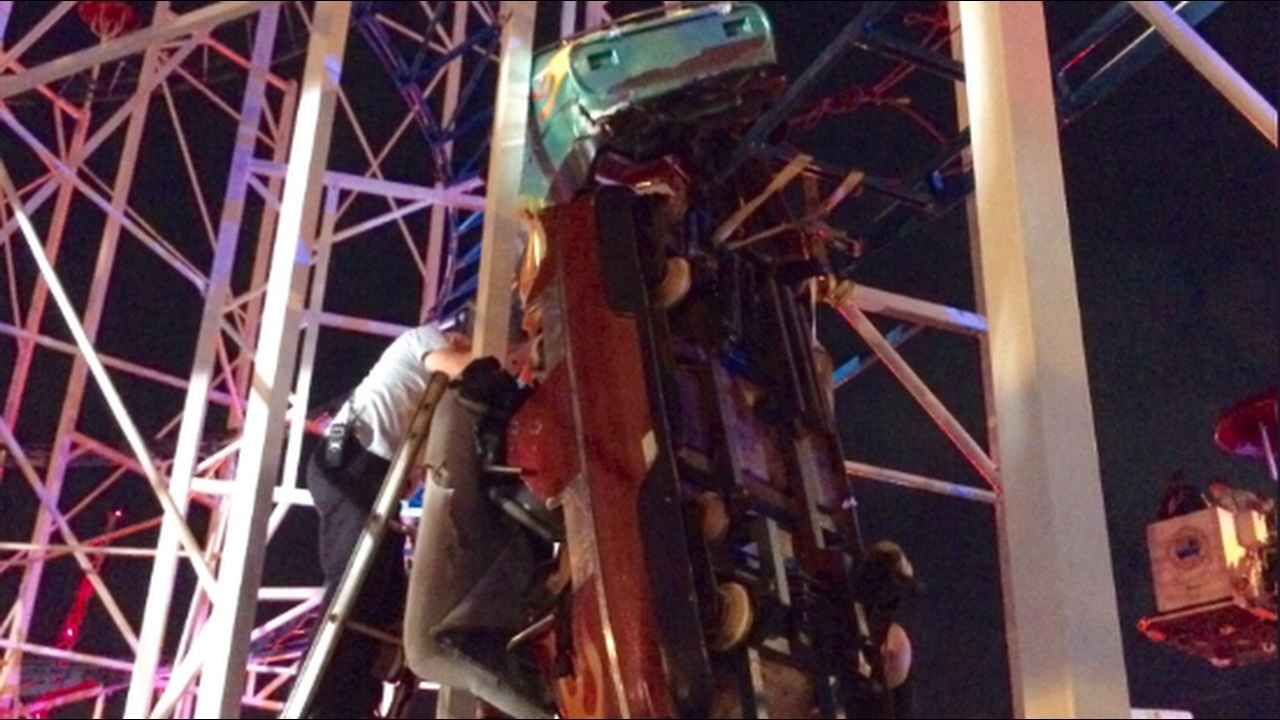 2 riders fall 34 feet when daytona beach roller coaster