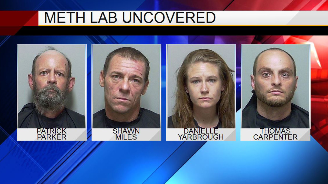 4 arrested on various charges after meth lab found at home in