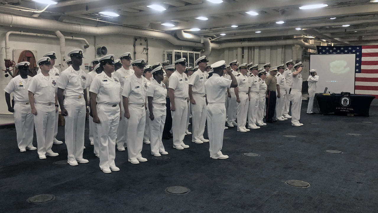 USS New York sailors pause to honor 9/11 victims, first