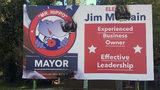 Political billboard set on fire in Kingsland, Georgia, candidate claims