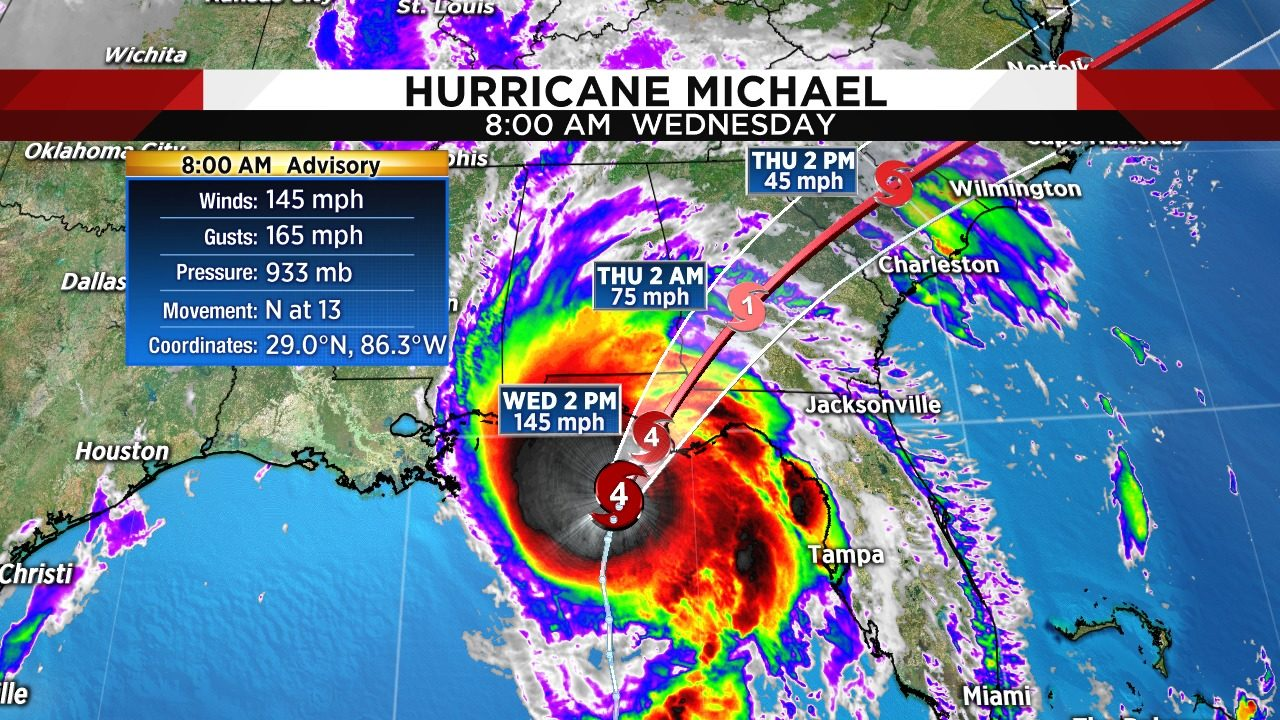 Hurricane Michael intensifies less than 100 miles from ...