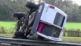 Tire failure caused I-75 van crash, 6 people seriously hurt, FHP says